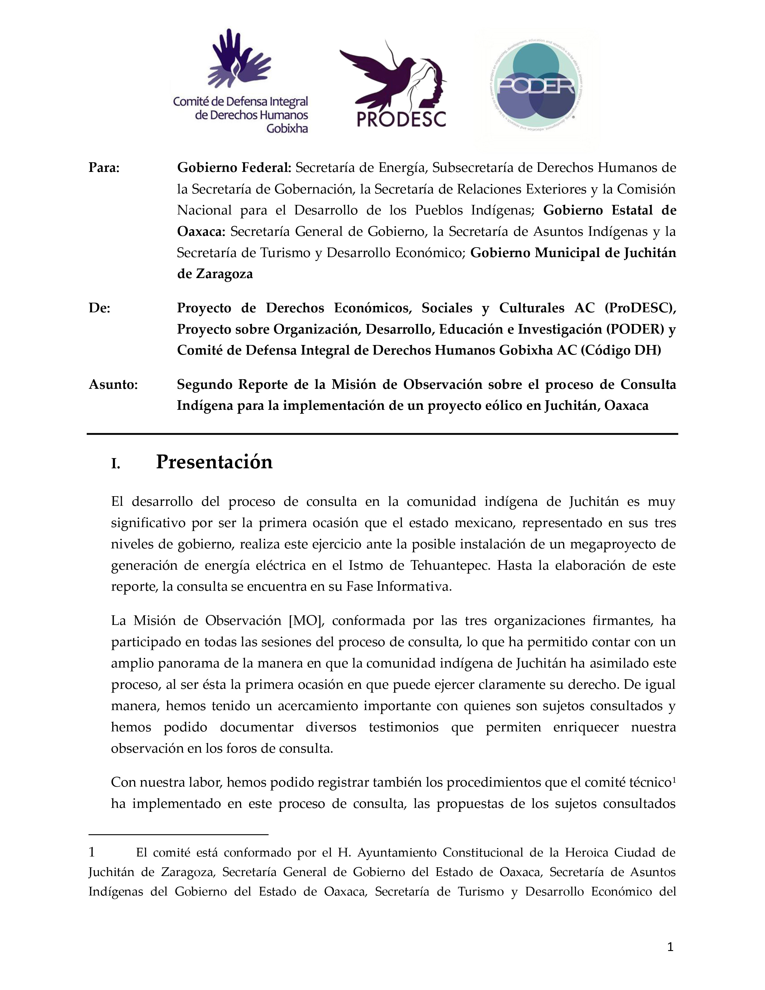 Second Report from the Observation Mission of the Public Consultation in Juchitán, Oaxaca: PODER, ProDESC, AND Código DH