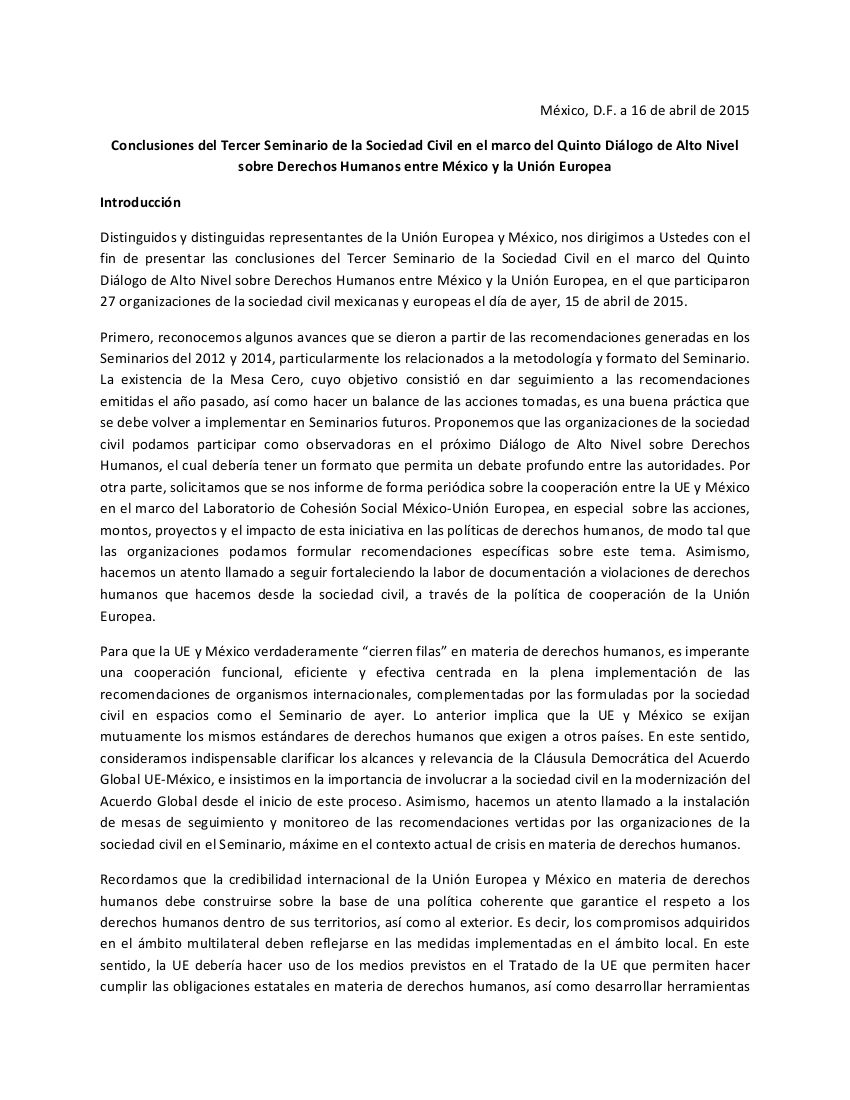 Conclusions of the Third Civil Society Seminar under the Fifth High-level Dialogue on Human Rights between Mexico and the European Union