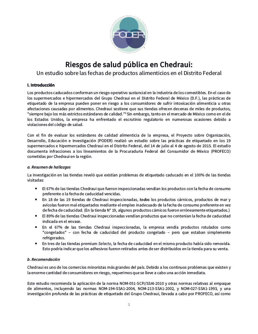 Public Health Risks in Chedraui
