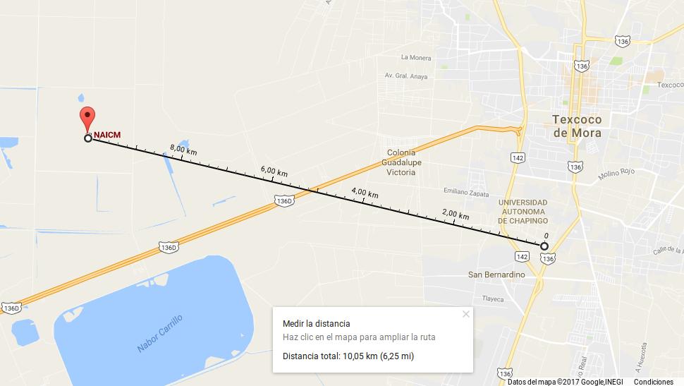 10.05 km a la Universidad de Chapingo