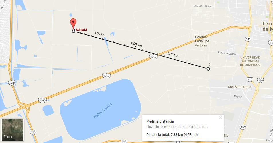 Nuevo cuerpo de agua 7.38 km